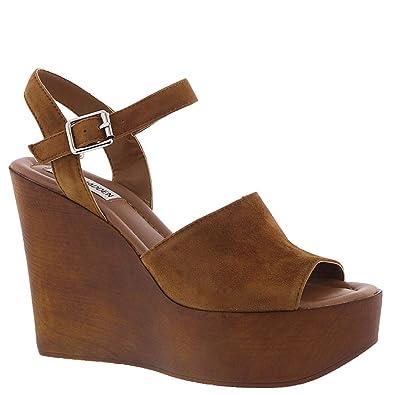 47927a0fcf733 Steve Madden Women s Bellini Wedge Sandal Cognac Suede 7.5 ...