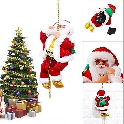 Juguete musical de Navidad con reno, para escalada de Navidad, Papá Noel, decoración de vacaciones, cuerda de escalar, escalar, escalar, Papá Noel, ...