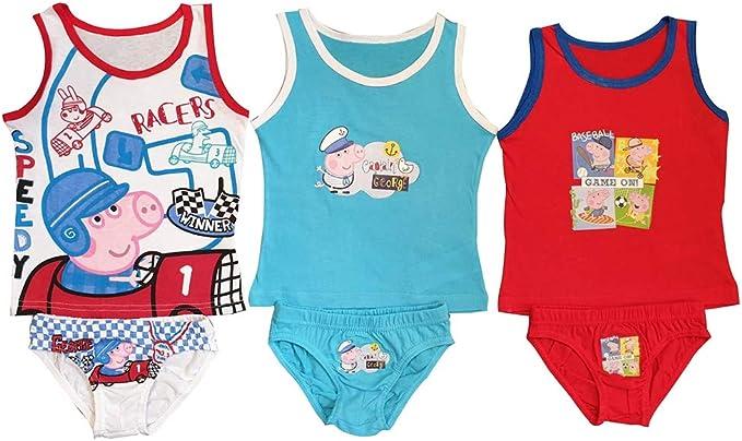 Peppa Wutz Peppa Pig, Georg Wutz 6 Piezas Conjunto de Ropa Interior para niños, Que consiste en Camisas y Calzoncillos/Calzoncillos Rojo Azul y Blanco, con Motivos de Georg en Varios Deportes: Amazon.es: