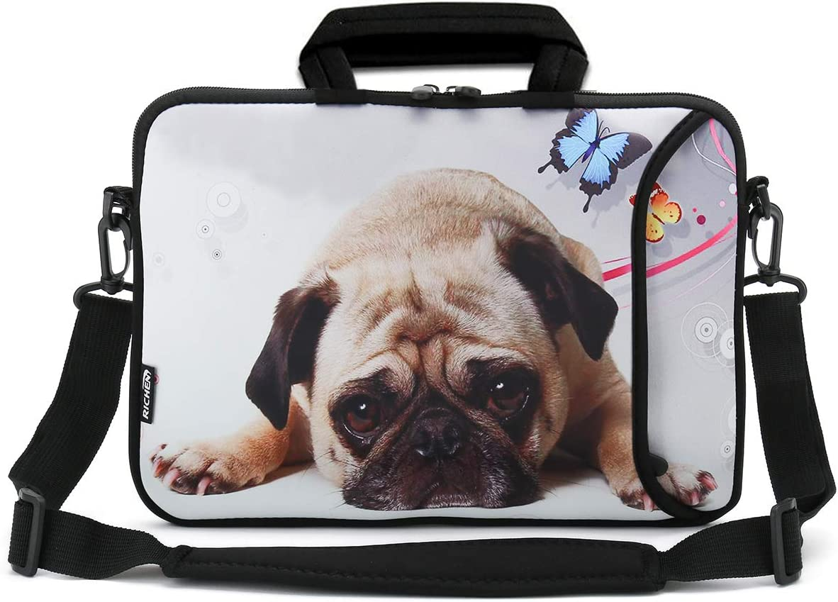 RICHEN 9.7 10 10.1 10.2 inches Messenger Bag Carring Case Sleeve with Handle Accessory Pocket Fits 7 to 10-Inch Laptops/Notebook/ebooks/Kids Tablet/Pad (7-10.2 inch, Cute Pug)