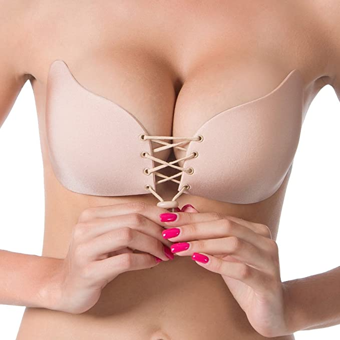9c5de4832f Bohai Women s Silicone Strapless Backless Push Up Self Adhesive with  Drawstrings Bra Nude