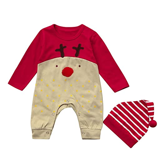 2dbd018a52f Amazon.com  ❤ Mealeaf ❤ Toddler Christmas Outfits Newborn Baby Boys Girls  Deer Print Jumpsuit + Hat Clothes Set 0-3t  Clothing
