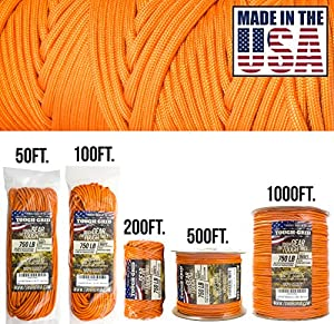 TOUGH-GRID 750lb Neon (Safety) Orange Paracord/Parachute Cord - Genuine Mil Spec Type IV 750lb Paracord Used by US Military (MIl-C-5040-H) - 100% Nylon - Made In USA. 50Ft. - Neon (Safety) Orange