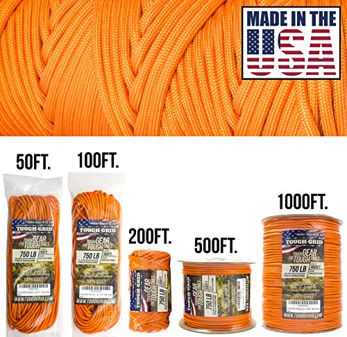 (TOUGH-GRID 750lb Neon (Safety) Orange Paracord/Parachute Cord - Genuine Mil Spec Type IV 750lb Paracord Used by US Military (MIl-C-5040-H) - 100% Nylon - Made in USA. 200Ft. - Neon (Safety) Orange)