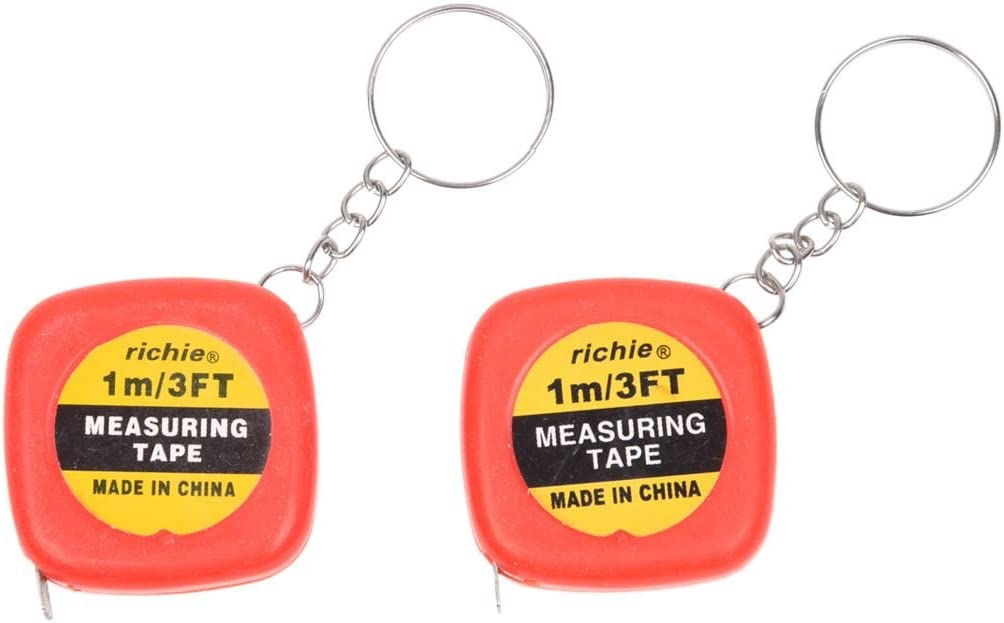 WOVELOT 2 piezas de Mini cinta metrica de multifuncion con caja roja de 1 metro 3 pies con llavero