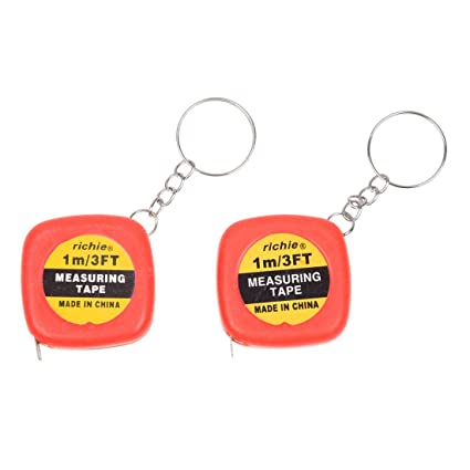 TOOGOO(R) 2 Pcs Multifunction Red Case 1 Meter 3 Feet Mini Tape Measure w Key Ring