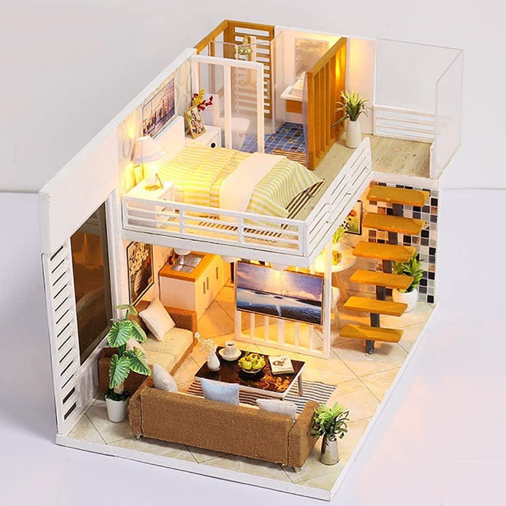 SELMAL Casa de muñecas DIY, Kit de Muebles en Miniatura de Madera en 3D, Mini casa con Cubierta Antipolvo y Mejores Regalos de cumpleaños LED para Mujeres y niñas: Amazon.es: Deportes y