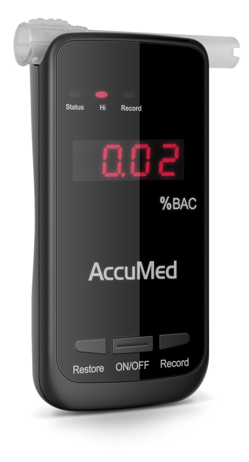 AccuMed Professional Blood Alcohol Breath Tester Breathalyzer w/LED Display - Measures Blood Alcohol Content in Seconds (BAC-178)