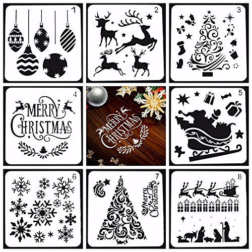 stmas Drawing Painting Stencils Scale Template sets, Plastic Shapes Stencils Graphics Stencils for Children Creation,Scrapbooking, DIY Albums Accessories ()