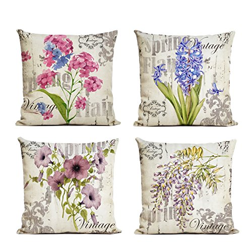 Spring Floral Pillow - WallDeco [Just Pillowcase] Flower Bloom Pattern Throw Pillow Case Square Linen Floral Cushion Case Pillow Covers with Zipper Durable Slipcover Home Decor for Sofa Slipcover Decorative Set of 4