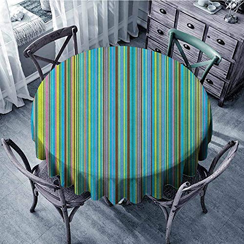 ScottDecor Food Round Tablecloth Jacquard Tablecloth Abstract,Vertical Retro Style Thin Stripes Colorful Bands in Contrast Tones Line Artwork, Multicolor Diameter 50
