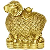 Brass Sheep Goat with Coins Figurines Chinese Handmade Decoration Gift Collectible BS038