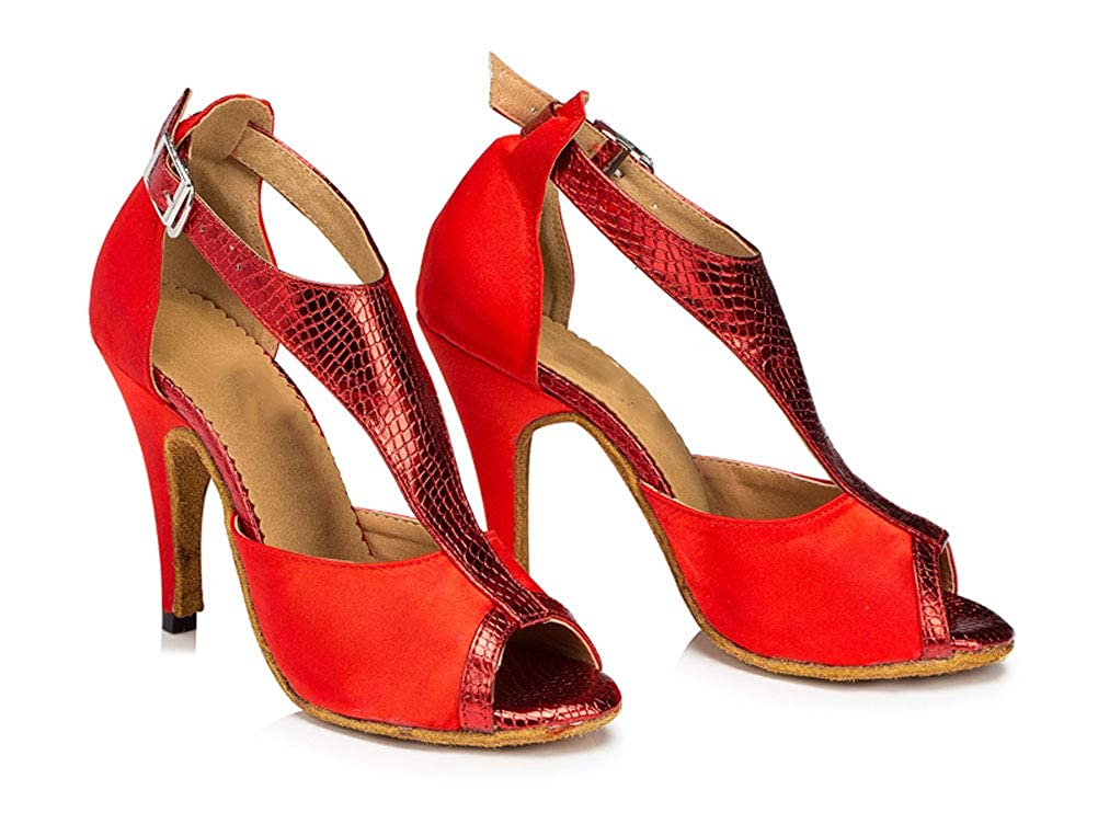 Womens Latin Dance Evening Ballroom Shoes Tango Cha-cha Salsa T-Straps 0021 Red US Size4 2.4IN