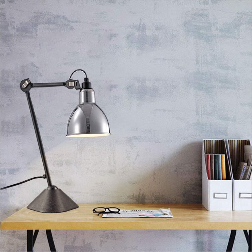 KLSJJ Premier Housewares Fully Adjustable Desk Lamp, Study Reading Light/Office Work Light/Bedroom Bedside Lamp - Metal (Color : Silver)