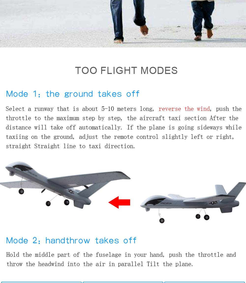 Studyset Flying Model Gliders RC Plane 2.4G 2CH Predator Z51 Remote Control RC Airplane Wingspan Foam Hand Throwing Glider Toy Planes by Studyset