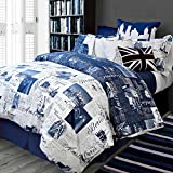 Bedlam Passport 2 Piece Reversible Duvet Cover Set Blue and White Twin