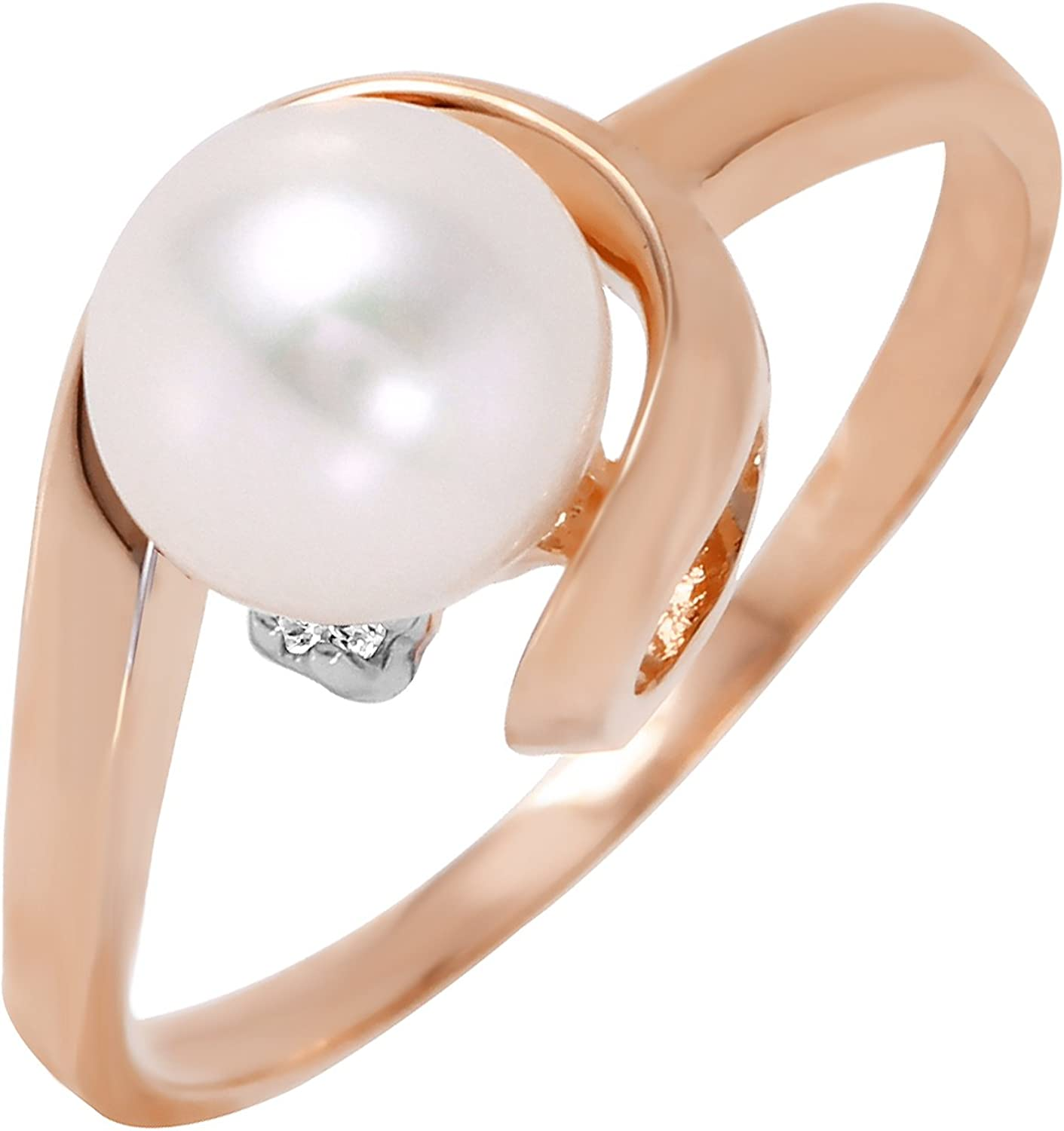 14k Solid Yellow Gold 7.5 mm Freshwater Cultured Pearl /& CZ Elegant Ring Jewelry