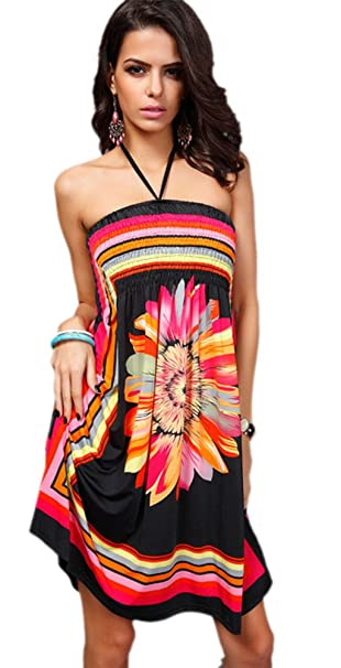 06d24fc78db Honeystore Women s Boho Sunflower Print Summer Island Beach Casual Dress  Black M
