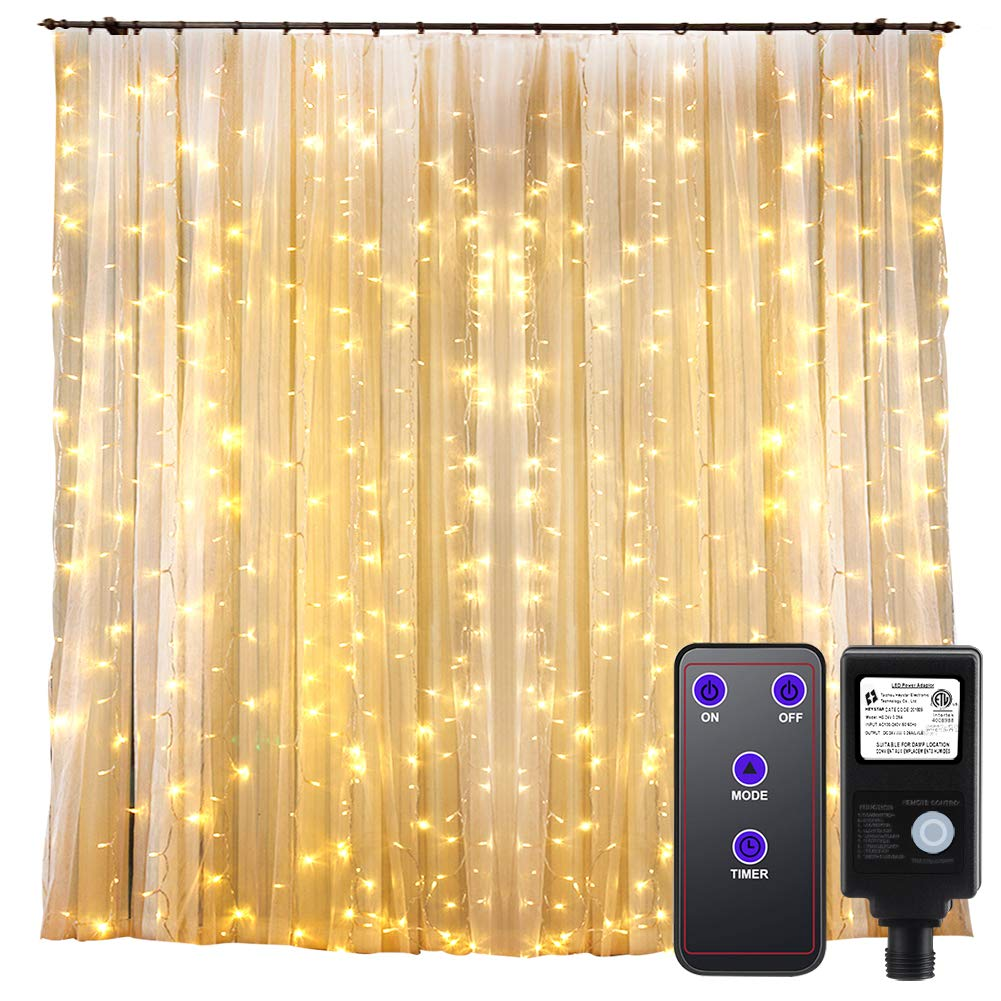 GDEALER 300 Led Window Curtain Lights with Timer,Remote Control String Lights Fairy Lights for Wedding Party Bedroom,6.6x6.6ft Hanging Lights Twinkle Lights Christmas Lights Wall Decor Warm White