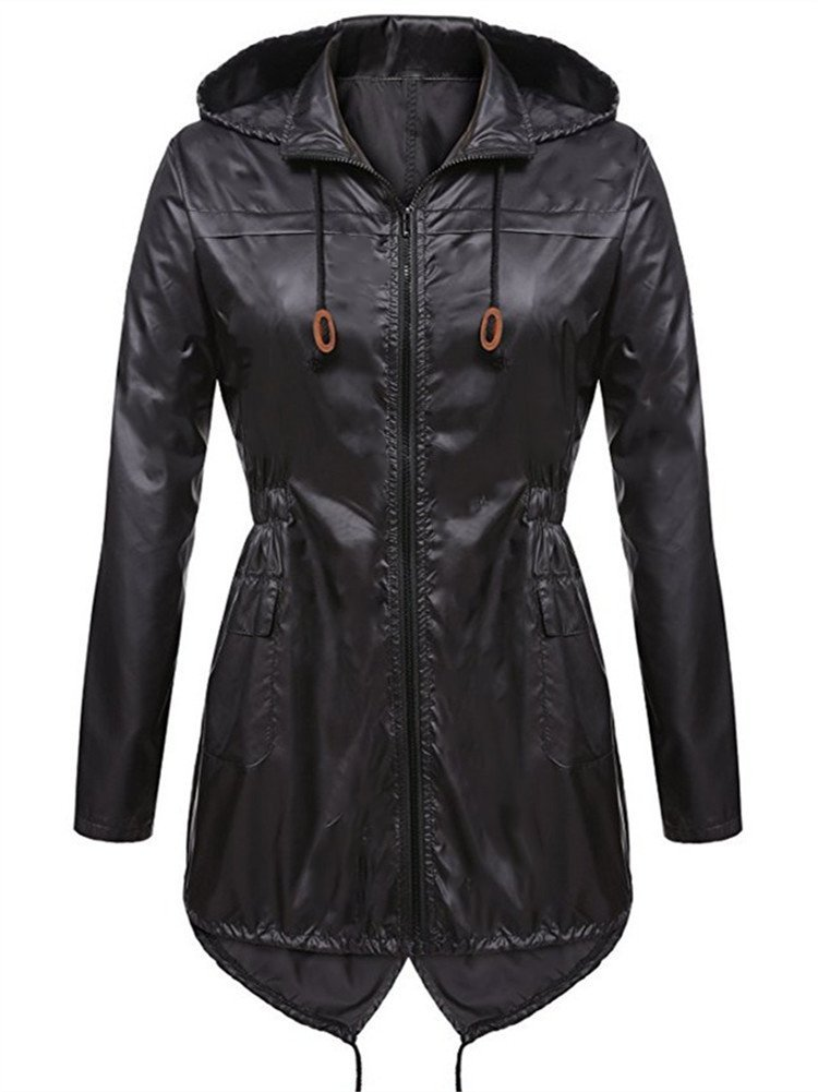 Syvent Women's Waterproof Raincoat Lightweight Active Outdoor Rain Jacket with Hood (XXL, Black)