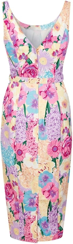 Collectif Vintage Ines English Garden Floral Pencil Dress Sz 8-22 1950s
