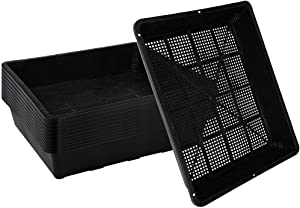 """10-Pack Seed Starter Trays , 15""""x12"""" Plastic Plant Trays Garden Mesh Bottom Seed Starter Kit for Seedlings, Plants,Flowers,for Microgreens, Soil Blocks, Wheatgrass, Hydroponic and Fodder Systems"""