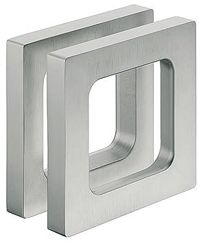 Design Möbelgriff Edelstahl Optik Glastürgriff Zum Kleben Muschelgriff Eckig Für Glastüren Modell H3695 Griffmuschel Zum Aufkleben 75 X 75 X 10