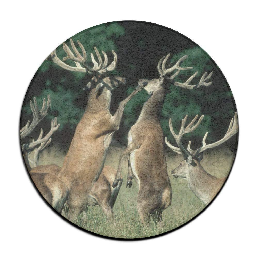 HYTRG Animal Elks Round Seat Cushion Non-Slip Machine Washable Round Chair Cushion Pad Stool Slipcover Mat Rug 16 Inch