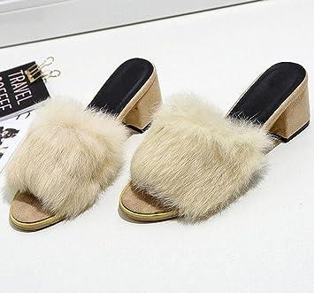 KUKI Weibliche Pantoffeln dick mit einem Wort Plüsch, um hochhackige  Sandalen zu tragen , 2