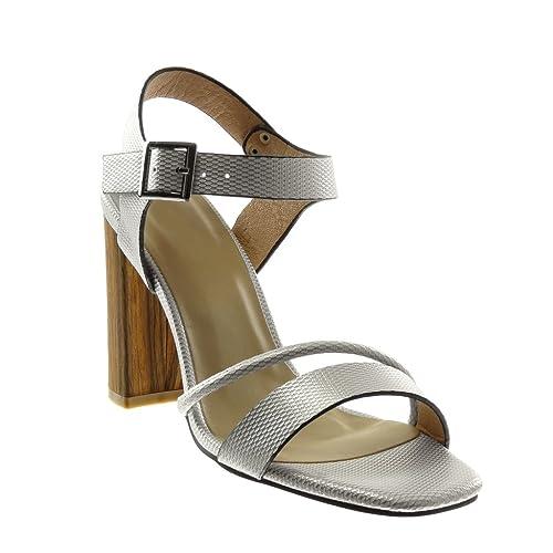 Angkorly - Chaussure Mode Sandale Escarpin lanière Cheville Femme Multi- Bride Peau de Serpent Bois df9582b6cf2