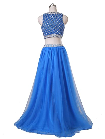Amazon.com: Callmelady Two Piece Long Prom Dresses For Women With Sleeveless Sequined Top: Clothing
