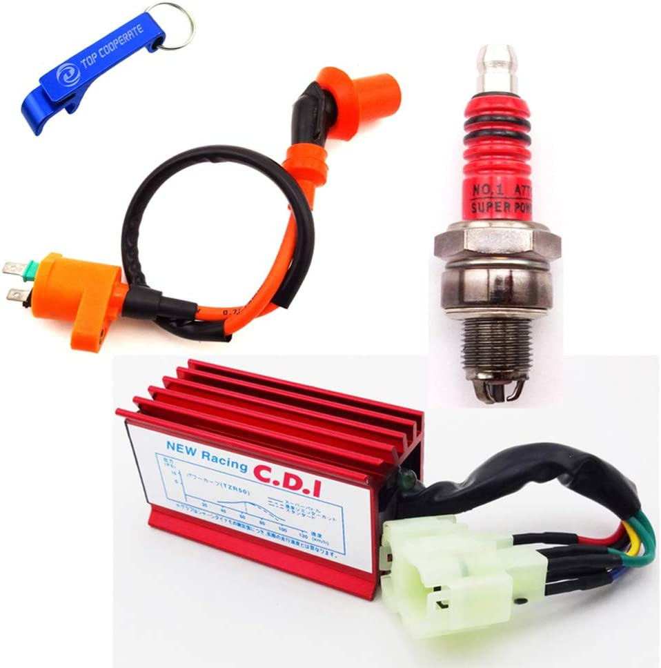 Ignition Coil 3 Electrode Spark Plug for Gy6 50cc 125cc 150cc Scooter Moped Go Karts Racing Cdi Box 6 Pin