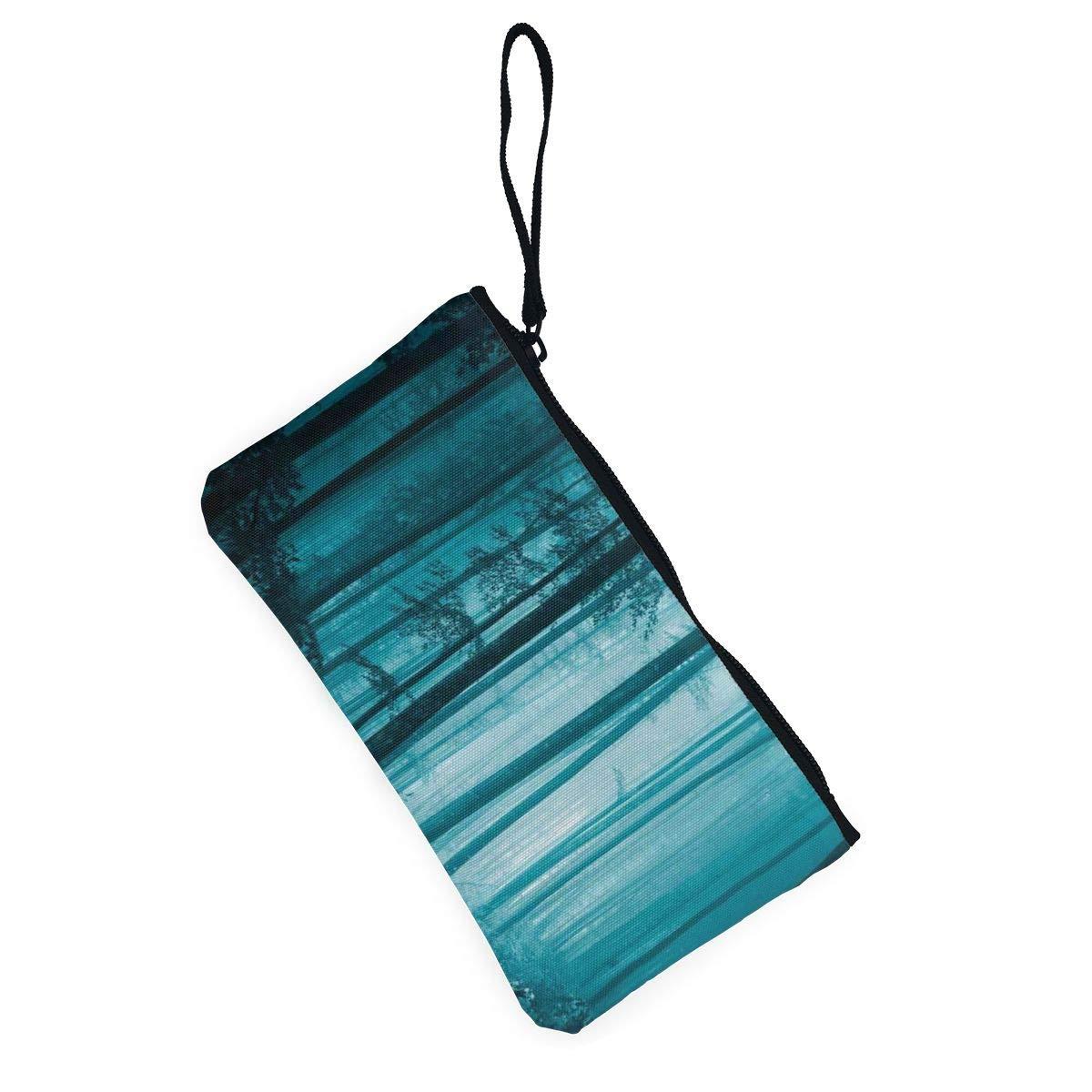 YUANSHAN Magic Foggy Dark Forest Unisex Canvas Coin Purse Change Cash Bag Zipper Small Purse Wallets with Handle
