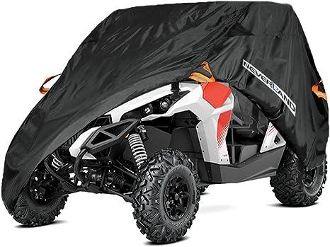 300d Quad Atv Utv Abdeckplane Fahrzeug Abdeckung Schutz Cover Winterfest Staub Regen Uv Schutz Schwarz Einreihiger Sitz Auto