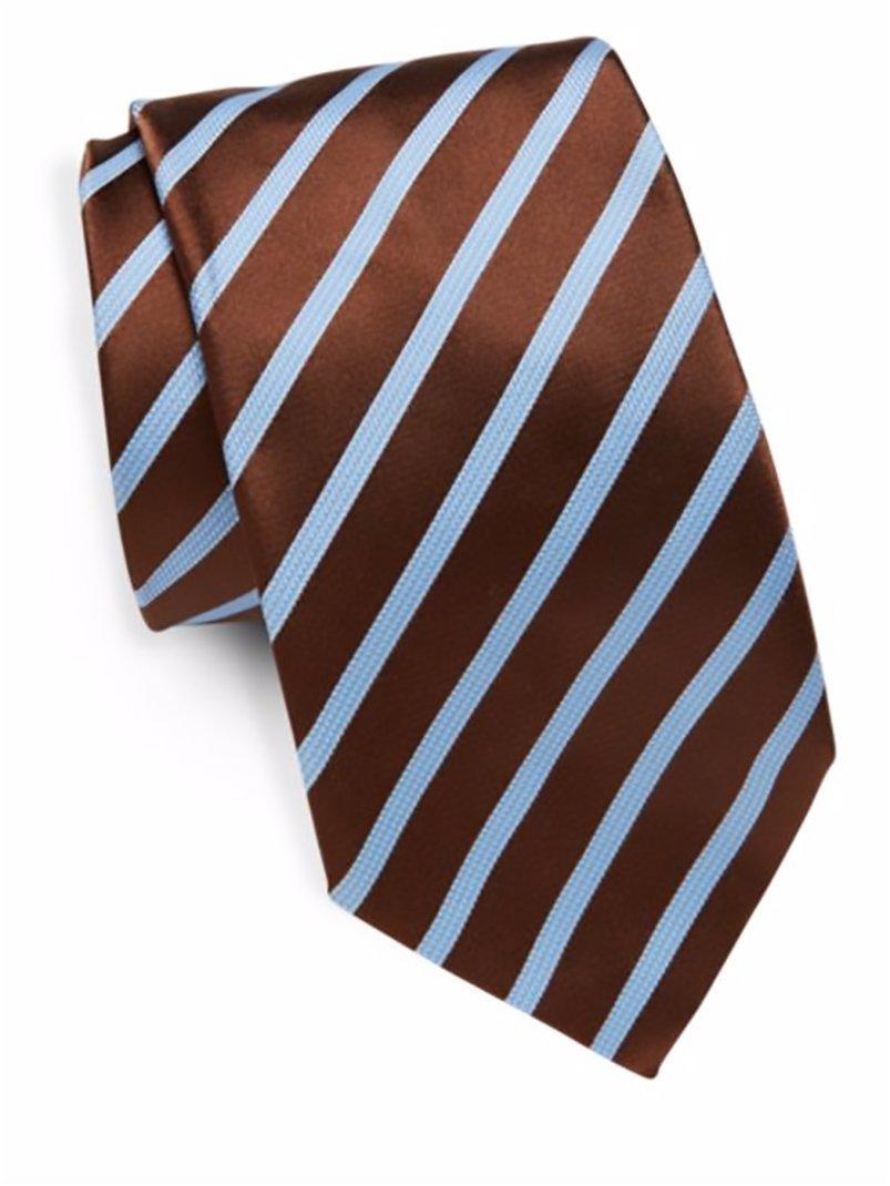 Ike Behar Men's Silk Textured Stripe Tie, OS (Brown)