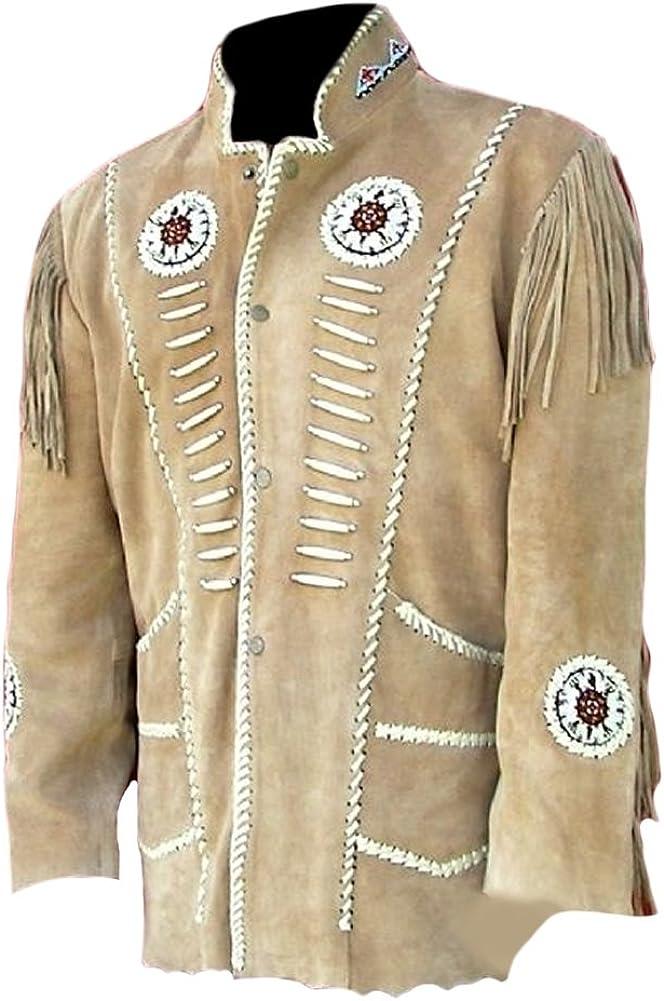 SleekHides Mens Western Cowboy Fringed Suede Leather Jacket