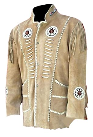 Classyak Mens Western Cowboy Fringed Motokit Leather Jacket Suede Beige X-Small