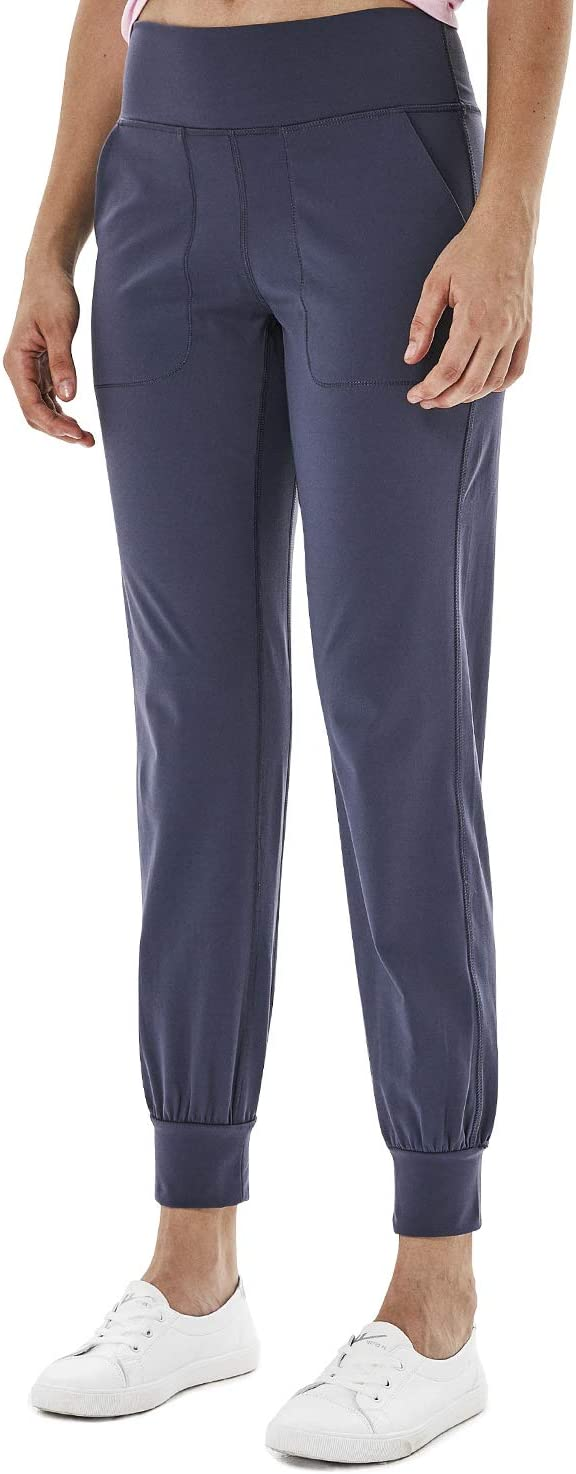 YAWHO Damen Leggings Yogahosen Sporthose Jogginghose Fitnesshose Laufhose Lang Tights High Waist mit Taschen Dehnbar Yoga Sport Fitness Laufen
