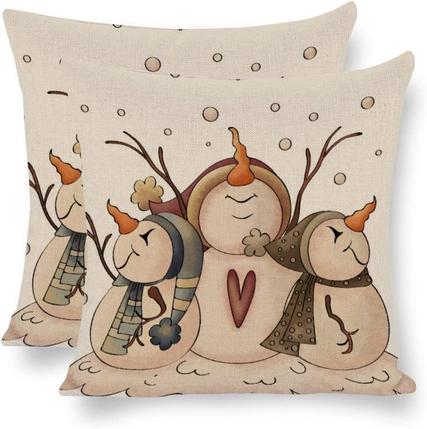 Amazon Com Yilooom Christmas Snowman Rustic Country Primitive Winter Throw Pillow Covers Decorative Retro Home Decor Cushion Cases For Sofa Couch Bedroom Car 18x18 Inch Pack Of 2 Home Kitchen
