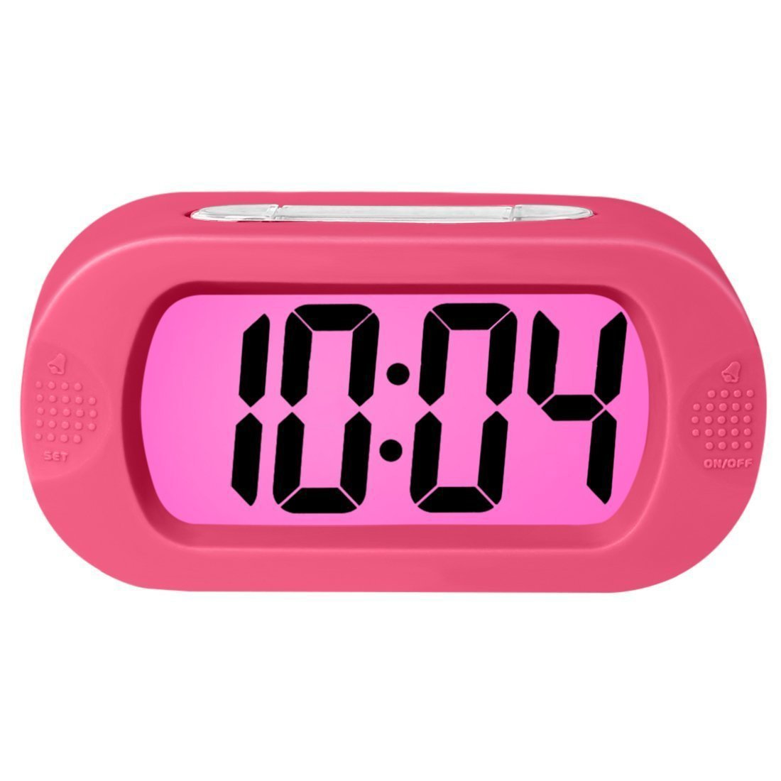Electronic Digital Alarm Clock, Rosa Schleife Colorful Light Travel Digital Alarm Morning Clock Battery Operated with Repeating Snooze Large Display Progressive Alarm Night Light Home Alarm Clock