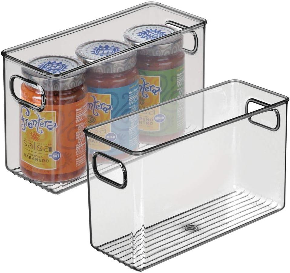 "mDesign Plastic Kitchen Pantry Cabinet, Refrigerator or Freezer Food Storage Bin with Handles - Organizer for Fruit, Yogurt, Snacks, Pasta - 10"" Long, 2 Pack - Smoke Gray"