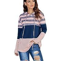 Youndc Womens Hoodies Pullover Long Sleeve Stripe Color Block Hooded Sweatshirt