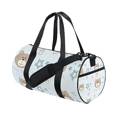 Gym Bag Cartoon Bear Head Footprint Sports Travel Duffel Lightweight Canvas Bag