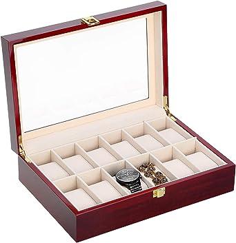 Caja para Relojes de Madera Estuche para Relojes y joyeros con 12 Compartimentos: Amazon.es: Bricolaje y herramientas