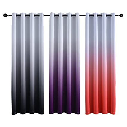 Yakamok Home Decor Ombre Blackout Curtains Thickening Polyester Thermal  Insulated Grommet Gradient Color Window Drapery For