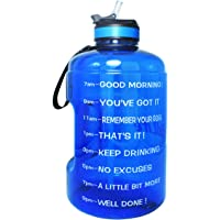 QuiFit Gallon Motivational Water Bottle - with Straw & Time Marker BPA Free 128 Oz Large Water Jug for Outdoor Fitness…
