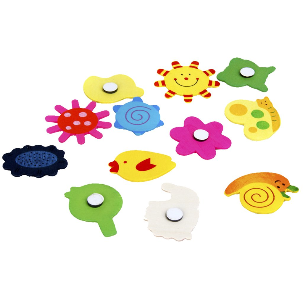 48pcs Colourful Wooden Cartoon Refrigerator Magnets for Children--Various Shapes and Colours, Lovely and Interesting Generic M9