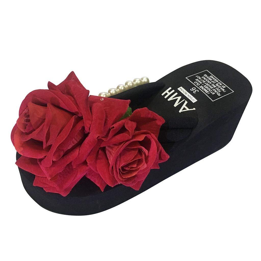 Goldweather Women's Wedges Flip Flops Sandals Ladies Summer Pearl Flower High Heel Slippers Beach Shoes (US:5)