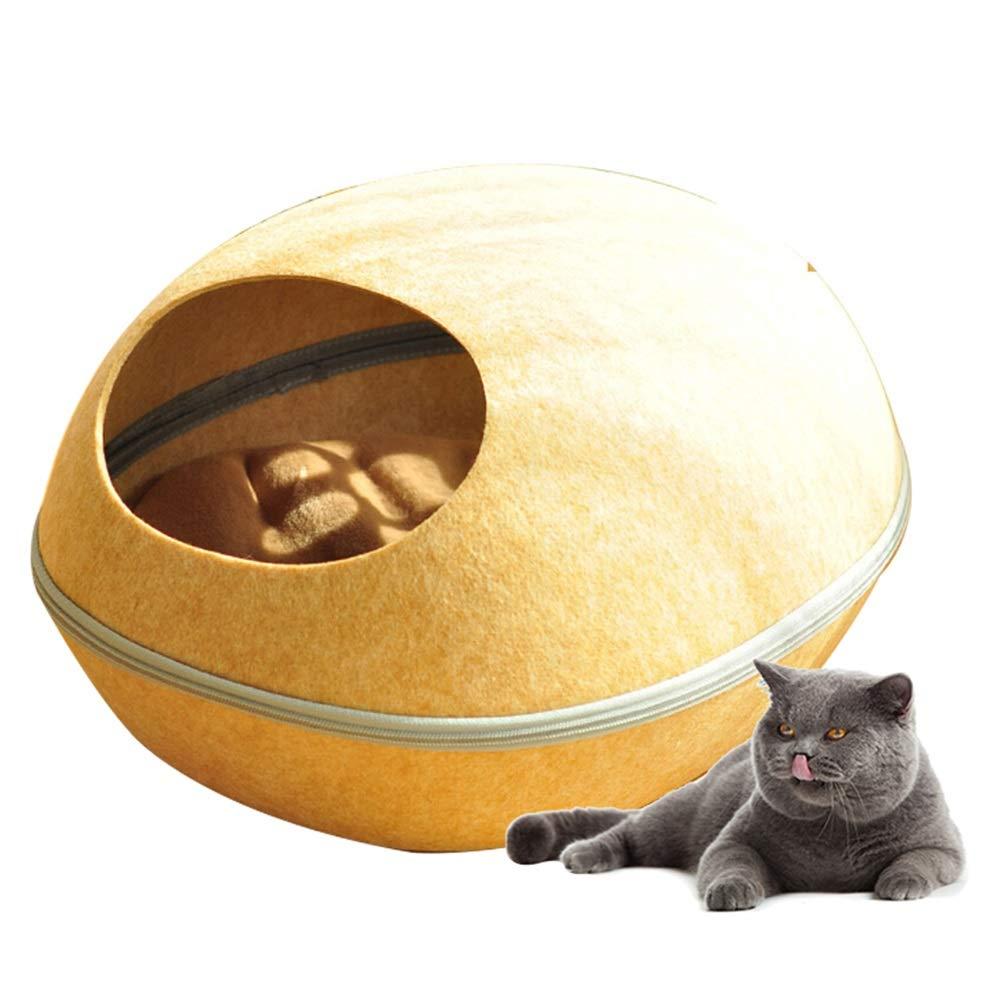 B Jian E  Pet nest cat litter cat felt nest removable and washable semi-closed egg shell nest cat bed cat litter autumn and winter pet nest cat dog cat 5 kg  -  (color   B)