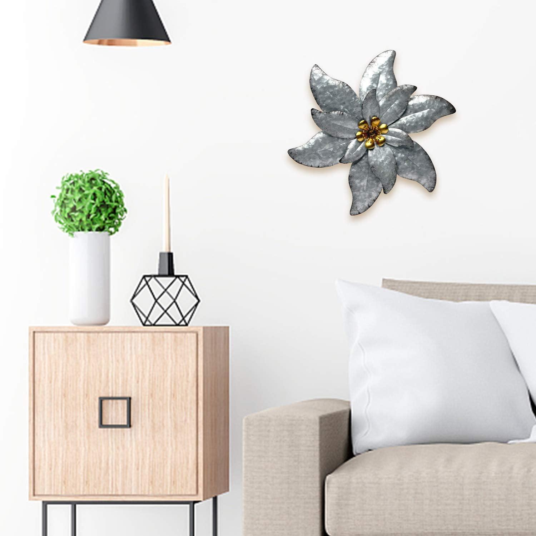 SONGXIN Purple Metal Flower Wall Art Decorations Indoor or Outdoor Wall Sculptures Hanging for Bathroom Livingroom Bedroom 13.5 Inch